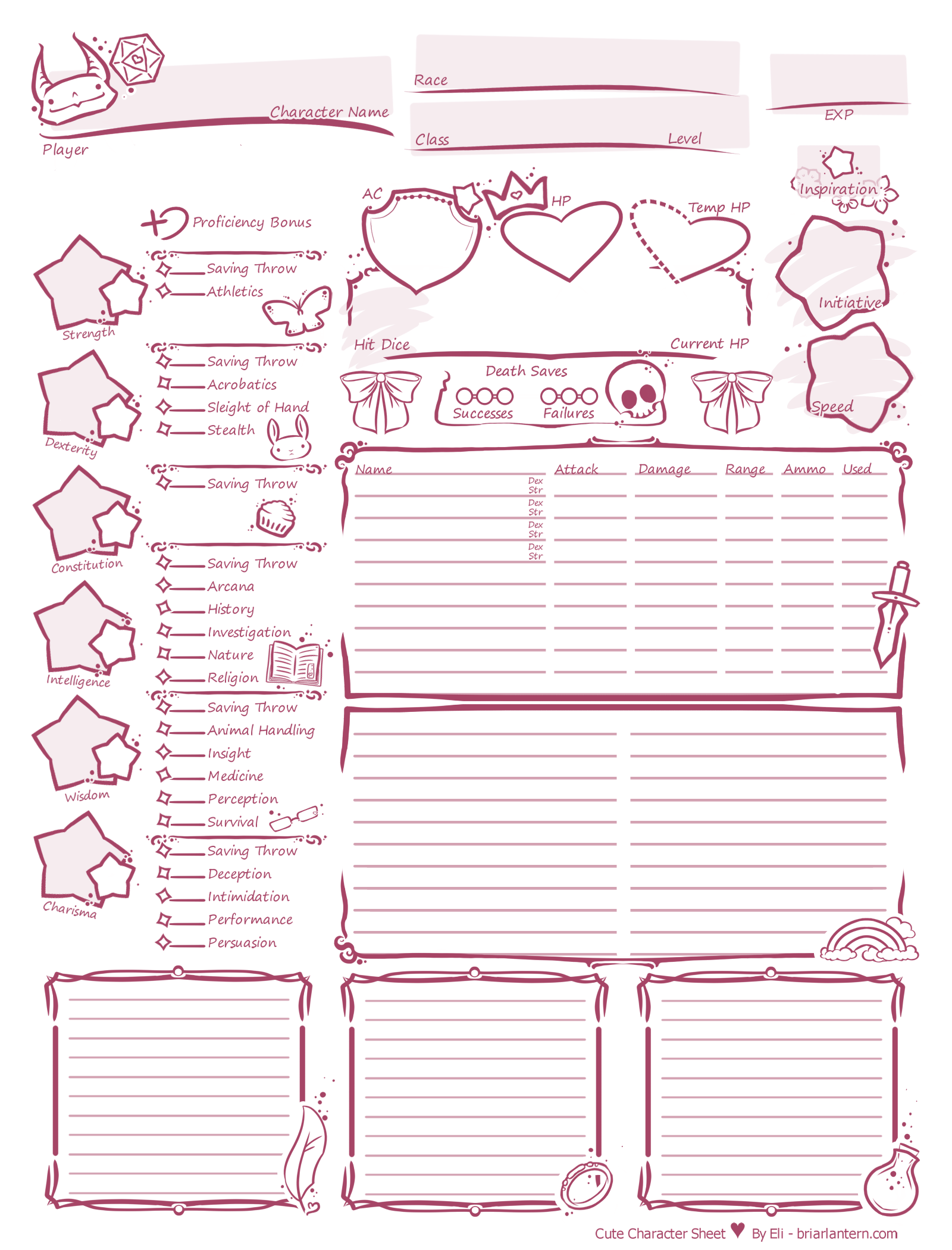 Cute Character Sheet 5th Edition These Sheets Are Free For Personal Use Pdf All Current Pages Pdf All Current Pages Black Character Sheet Only High Res Raster Pink High Res Raster Black Pdf Pink Pdf Black Pdf Pink With A Fillable Form